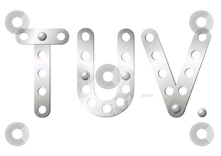 Metal Letters T U V Stock Vector