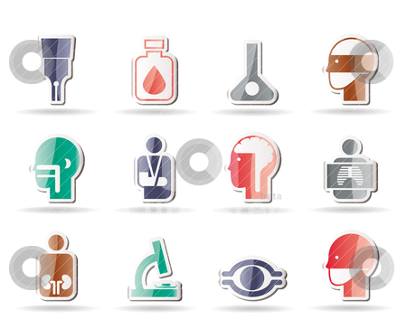 Medical, hospital and health care icons stock vector clipart, medical, hospital and health care icons - vector icon set by Stoyan Haytov