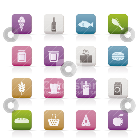 Shop, food and drink icons stock vector clipart, shop, food and drink icons - vector icon set by Stoyan Haytov