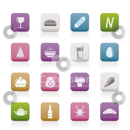 Shop, food and drink icons  stock vector clipart, shop, food and drink icons - vector icon set 2 by Stoyan Haytov