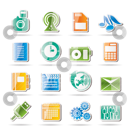 Mobile Phone Performance, Business and Office Icons  stock vector clipart, Mobile Phone Performance, Business and Office Icons - Vector Icon Set by Stoyan Haytov