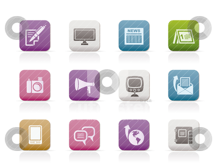 Communication channels and Social Media icons  stock vector clipart, Communication channels and Social Media icons - vector icon set  by Stoyan Haytov