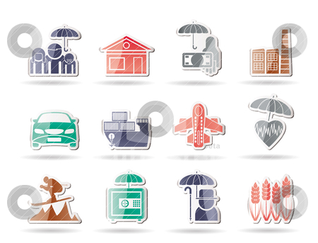 Different kind of insurance and risk icons stock vector clipart, different kind of insurance and risk icons - vector icon set by Stoyan Haytov