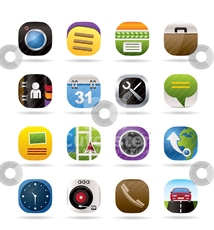 Mobile phone and computer icons  stock vector clipart, Mobile phone and computer icons - vector icon set by Stoyan Haytov