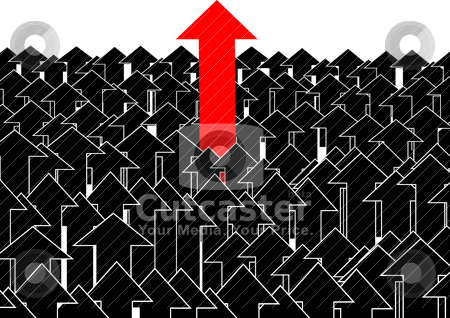 Aspiration stock vector clipart, A conceptual illustration. Among the set of black arrows allocated one that stands out from the rest by Sergey Skryl