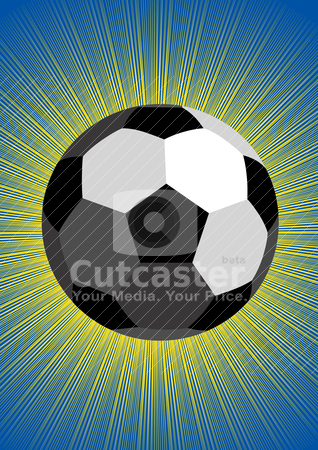Ball stock vector clipart, Sports equipment. Soccer ball on abstract background radiance. by Sergey Skryl