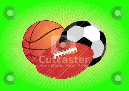 Balls stock vector clipart, Sports equipment. Balls for soccer and basketball. by Sergey Skryl