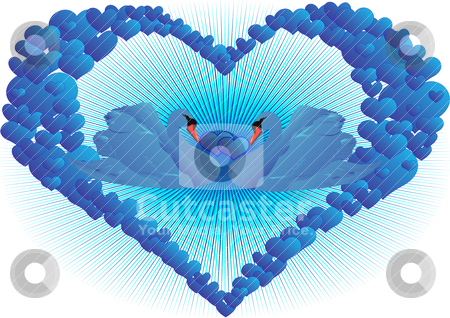 Blue love stock vector clipart, Two blue swan in abstract blue hearts by Sergey Skryl