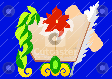 Book stock vector clipart, Printed edition. The book, for which there are a scroll of paper and a pen for writing. by Sergey Skryl