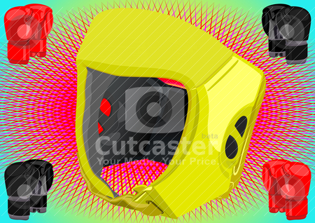 Boxing equipment stock vector clipart, The helmet boxer and a boxing glove on an abstract background by Sergey Skryl