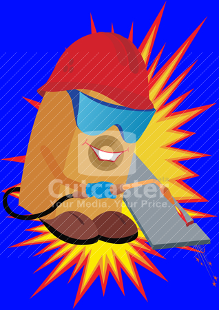 Builder gas welder stock vector clipart, Builder in gas welder gas welding goggles equipment cuts off part of the metal plate. by Sergey Skryl