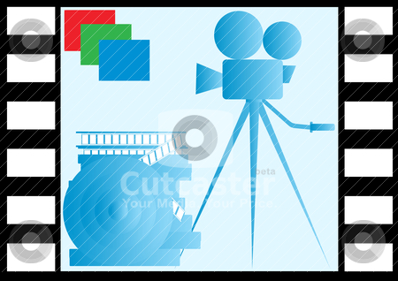 Color film stock vector clipart, On the background of the image frame of film reels of film and film camera on a tripod. by Sergey Skryl