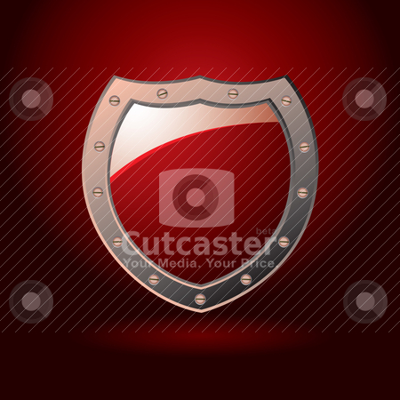 Red shield blank stock vector clipart, Bright red secure shield with screws and spot light background by Michael Travers