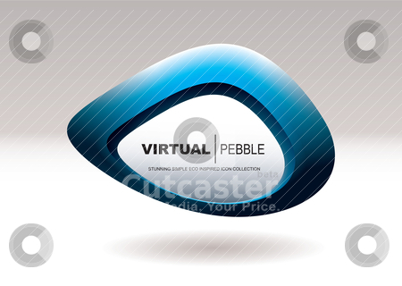 Blob pebble blue stock vector clipart, Blue abstract icon with pebble shape and blank area for your text by Michael Travers