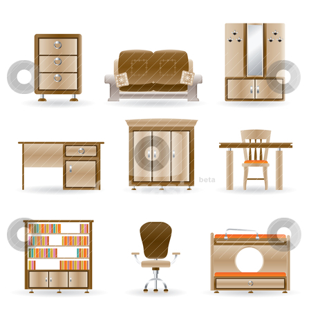 Home and office furniture  stock vector clipart, home and office furniture - vector illustration by Stoyan Haytov