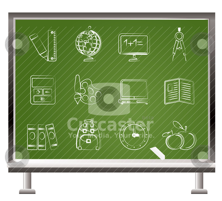 Painted with chalk School and education icons  stock vector clipart, painted with chalk School and education icons - vector icon set  by Stoyan Haytov
