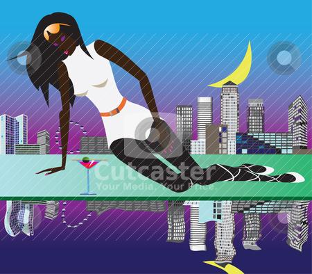 Woman in London  stock vector clipart, woman in London - vector illustration by Stoyan Haytov