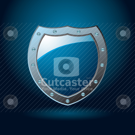 Blue shield blank stock vector clipart, Dark blue or cobalt illustrated protection of a shield with gradient background by Michael Travers