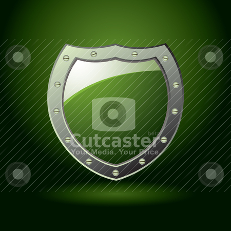 Green shield blank stock vector clipart, Modern green shield offering protection with illuminated background by Michael Travers