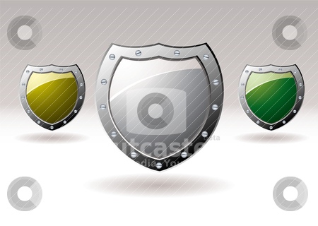 Metal shield icon collection stock vector clipart, Brightly coloured silver shields giving protection for internet web sites by Michael Travers