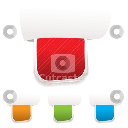 Paper tab label stock vector clipart, Collection of four paper labels with blank space for your own text by Michael Travers