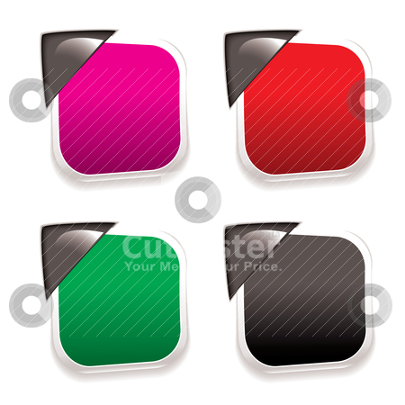 Sale tag paper stock vector clipart, Collection of four paper tags with metal corner holders and shadow by Michael Travers