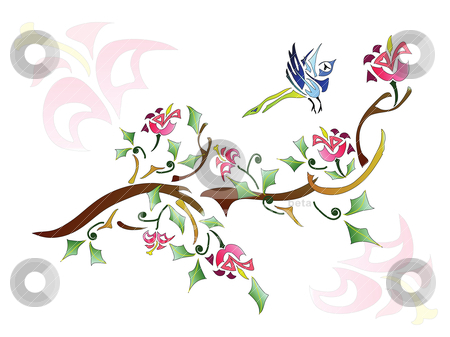 Floral Background stock vector clipart, Abstract picture: Branch of tree with a bird on it by Yulia Zhukova