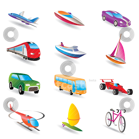 Different kind of transportation and travel icons  stock vector clipart, different kind of transportation and travel icons - vector icon set by Stoyan Haytov
