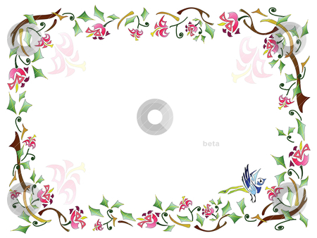 Floral frame stock vector clipart, Floral frame with natural pattern by Yulia Zhukova