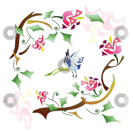 Bird stock vector clipart, Abstract picture: Branch of tree with a bird on it  by Yulia Zhukova