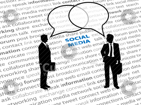 Business people social network text talk bubbles stock vector clipart, Two business people connect in social media network talk bubbles on a text page background by Michael Brown