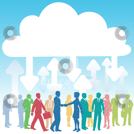 Company people business IT cloud computing stock vector clipart, Company people doing business in IT cloud computing environment by Michael Brown