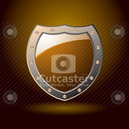Secure shield blank stock vector clipart, Secure abstract orange shield with spotlight by Michael Travers