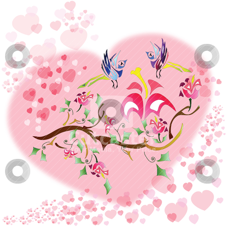 Love birds stock vector clipart, Love birds colorful heart background by Yulia Zhukova