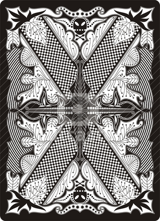 Playing card back side 65x90 mm stock vector clipart, design of back side of playing card by bobyramone