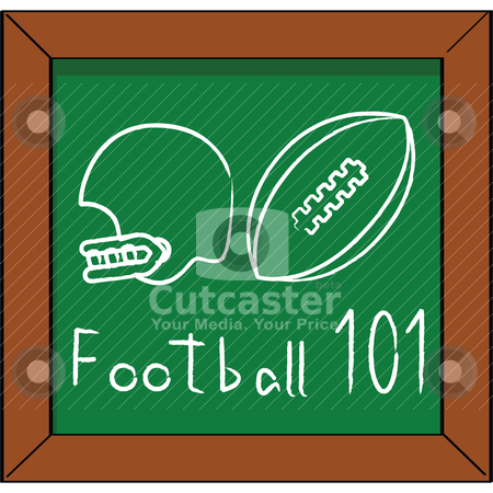 Football 101 stock vector clipart, Cartoon illustration of a blackboard with a helmet and football chalk drawing by Bruno Marsiaj