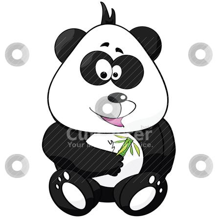 Cartoon panda stock vector clipart, Cartoon illustration of a cute panda holding a bamboo shoot with leaves by Bruno Marsiaj
