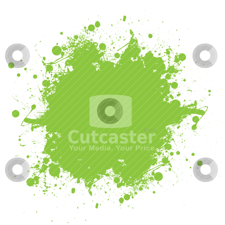 Green ink splatter stock vector clipart, Grunge green ink splat with copyspace and white background by Michael Travers
