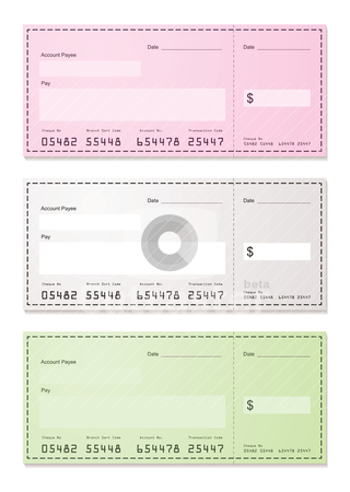 Choice of dollar check stock vector clipart, American check payment paper slip with room to add your own amounts by Michael Travers