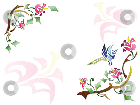 Abstract floral background stock vector clipart, Floral frame with natural pattern by Yulia Zhukova
