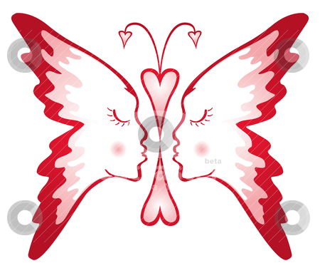 Butterfly of love  stock vector clipart, Two faces composed into shape of butterfly  by Oxygen64