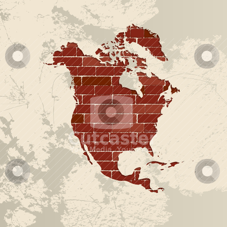 North America wall map stock vector clipart, North America map on a brick wall by Richard Laschon
