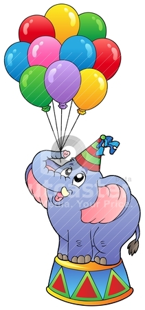 Circus elephant with balloons 1 stock vector clipart, Circus elephant with balloons 1 - vector illustration. by Klara Viskova