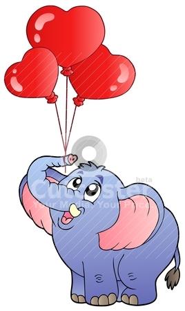 Circus elephant with balloons 2 stock vector clipart, Circus elephant with balloons 2 - vector illustration. by Klara Viskova