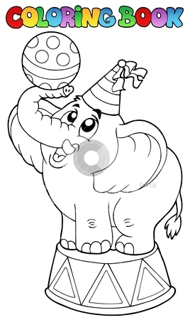 Coloring book with circus elephant stock vector clipart, Coloring book with circus elephant - vector illustration. by Klara Viskova