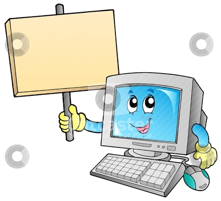 Desktop computer with blank board stock vector clipart, Desktop computer with blank board - vector illustration. by Klara Viskova