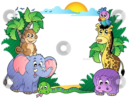 Frame With Cute African Animals Stock Vector