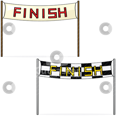 Finish line stock vector clipart, Cartoon illustration of two different styles of finish lines by Bruno Marsiaj