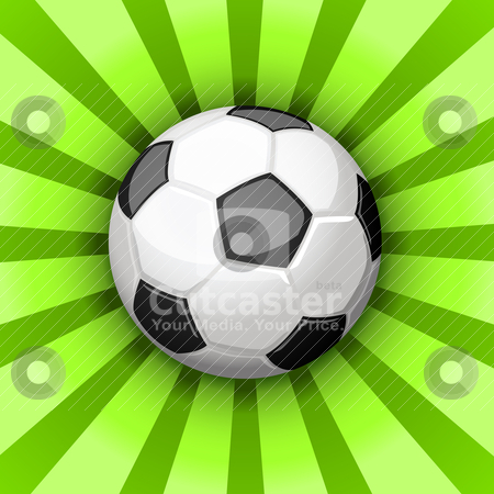 Soccer ball stock vector clipart, Glossy soccer ball over green rays by Tilo