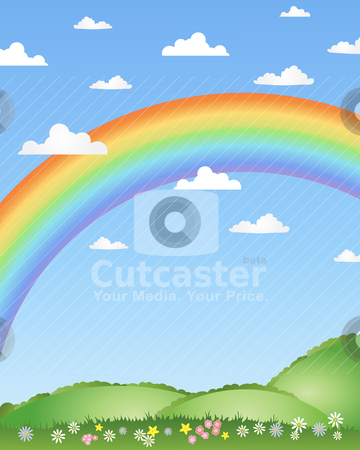 Rainbow background stock vector clipart, an illustration of a rainbow over patchwork fields with white fluffy clouds and flowers by Mike Smith